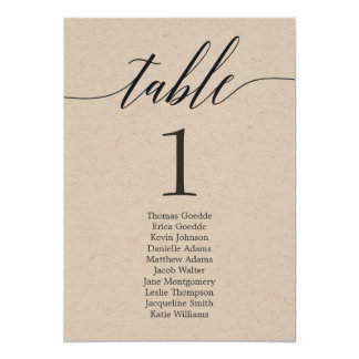 Seating Plan Individual Table Card Modern Script