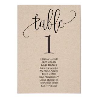 Seating Plan Table Card Lovely Calligraphy Kraft