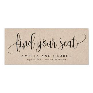 Seating Plan Title Card - Lovely Calligraphy Kraft