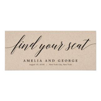 Seating Plan Title Card - Modern Script Kraft