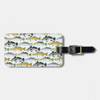 Seatrout and Drum Pattern in blue Luggage Tag