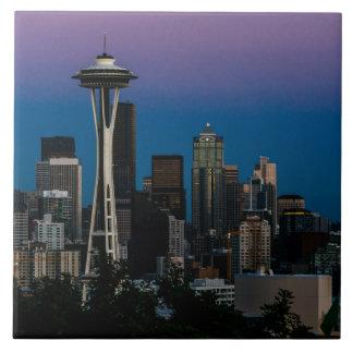 Seattle Architecture Under the Purple Sky Large Square Tile