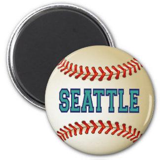 SEATTLE BASEBALL 6 CM ROUND MAGNET