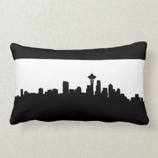 seattle city cityscape black silhouette america us lumbar cushion