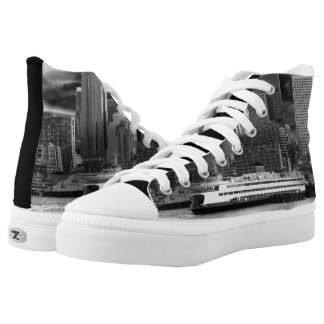 Seattle City Skyline Black and White Shoes Printed Shoes