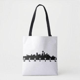 seattle city skyline silhouette black shape americ tote bag