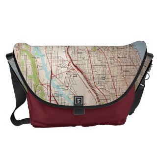 Seattle City Topographic Map Messenger Bag