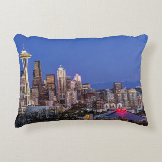 Seattle, Downtown and Mt. Rainier at Twilight Decorative Cushion