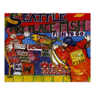 Seattle Fish Market Poster
