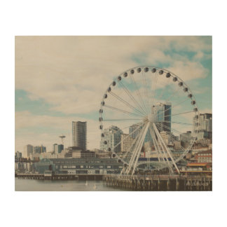 Seattle Great Wheel Wood Wall Art