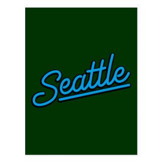 Seattle in cyan postcards