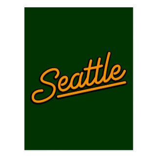 Seattle in orange postcard