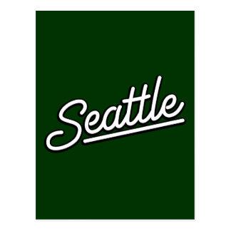 Seattle in white postcard