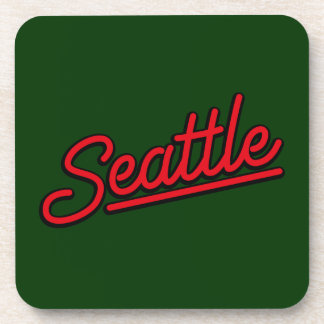 Seattle neon in red beverage coasters