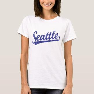 Seattle script logo in blue T-Shirt