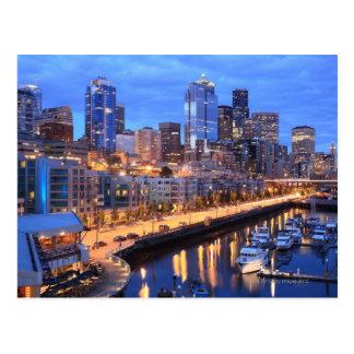 Seattle skyline and harbor, Washington State Postcard