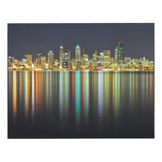 Seattle skyline at night with reflection