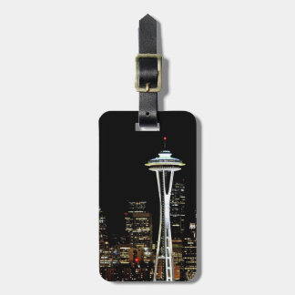 Seattle skyline at night, with Space Needle. Luggage Tag