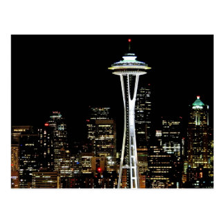 Seattle skyline at night, with Space Needle. Postcard