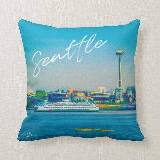 Seattle Skyline Hand Lettered Script Watercolor Cushion