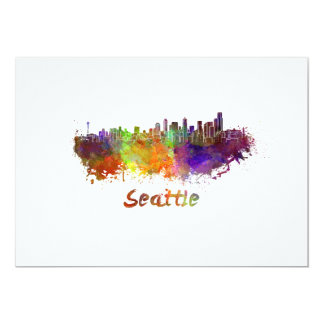 Seattle skyline in watercolor card