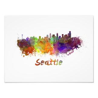 Seattle skyline in watercolor photo print