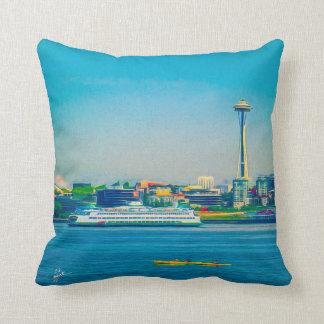 Seattle Skyline Modern Watercolor Unique Cushion