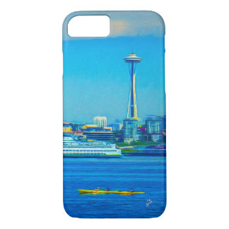 Seattle Skyline Photo Modern Watercolor Unique iPhone 8/7 Case