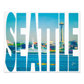 Seattle Skyline Photo Typography Modern Watercolor