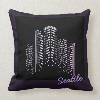 Seattle Skyline Polyester Pillow