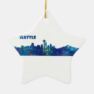 Seattle Skyline Silhouette Ceramic Ornament