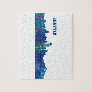 Seattle Skyline Silhouette Jigsaw Puzzle