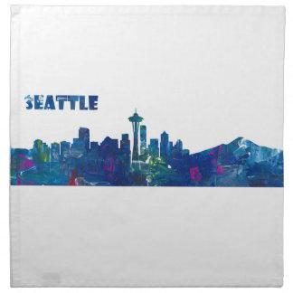 Seattle Skyline Silhouette Napkin