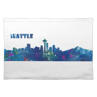 Seattle Skyline Silhouette Placemat
