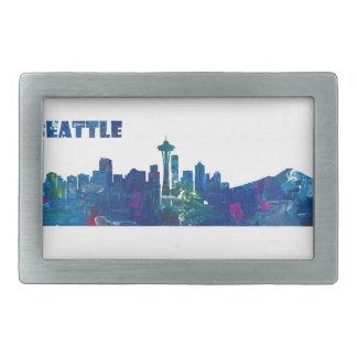 Seattle Skyline Silhouette Rectangular Belt Buckle