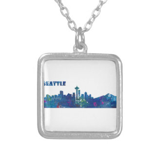 Seattle Skyline Silhouette Silver Plated Necklace