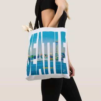 Seattle Skyline Typography Modern Photo Watercolor Tote Bag
