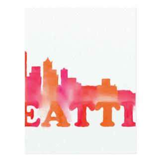 Seattle skyline warm postcard