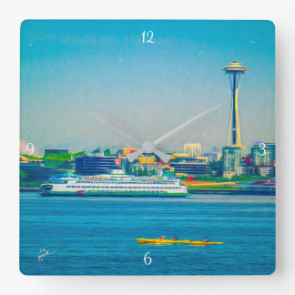 Seattle Space Needle and Elliott Bay Square Wall Clock