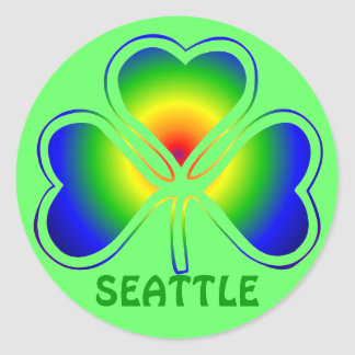 Seattle St. Patrick's Day Shamrock Rainbow Round Sticker