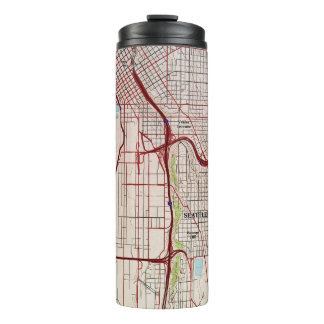 Seattle Topographic City Map Thermal Tumbler