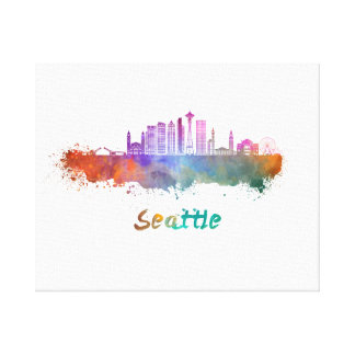 Seattle V2 skyline in watercolor Canvas Print
