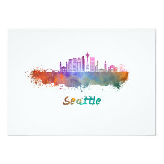 Seattle V2 skyline in watercolor Card