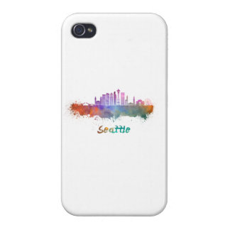 Seattle V2 skyline in watercolor iPhone 4 Cases