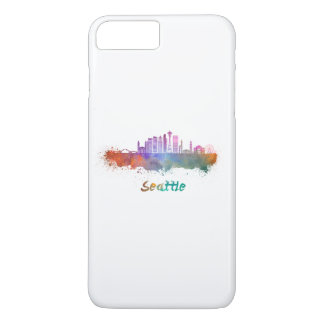Seattle V2 skyline in watercolor iPhone 8 Plus/7 Plus Case