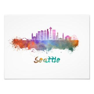 Seattle V2 skyline in watercolor Photo Print