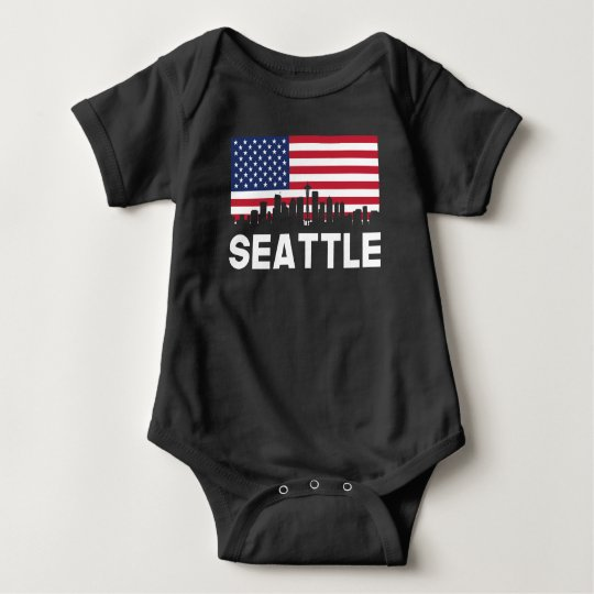 Seattle WA American Flag Skyline Baby Bodysuit