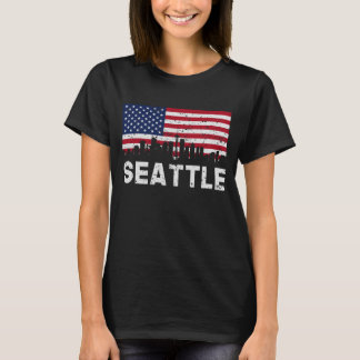 Seattle WA American Flag Skyline Distressed T-Shirt