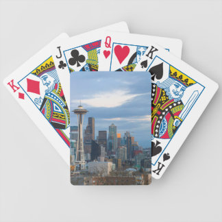 Seattle WA City Skyline evening Panorama Bicycle Playing Cards