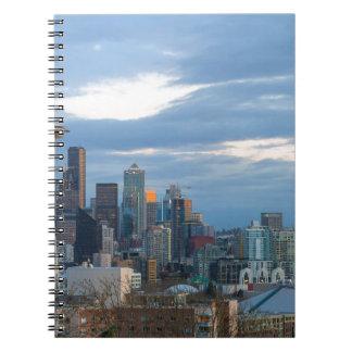 Seattle WA City Skyline evening Panorama Notebook